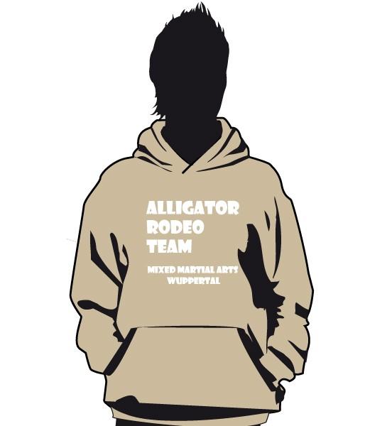 """""""Alligator Rodeo Team"""" Beiger Hoodie mit Front- und Kapuzendruck"""