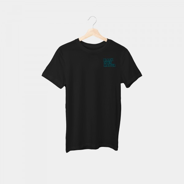 """#blacklivesmatter Cyan Outline Brustprint"" Unisex Organic T-Shirt"