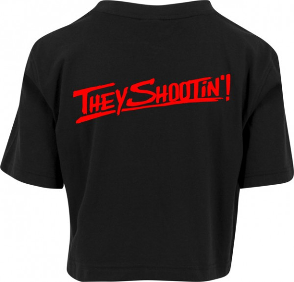"""THEY SHOOTIN"" Ladies Short Oversized Tee"