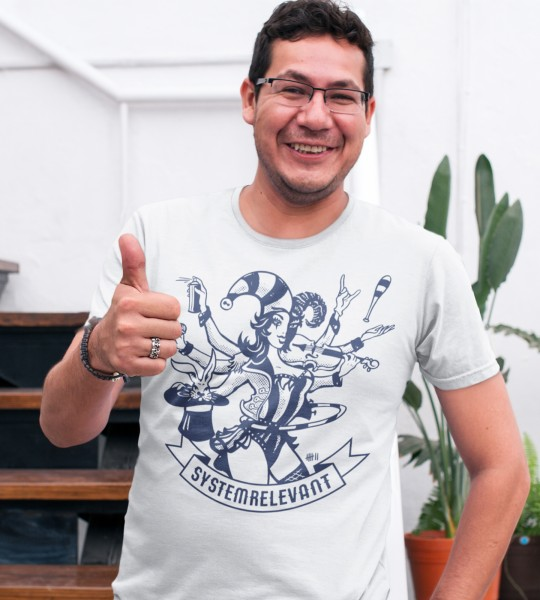 """Kunstnothilfe """"Systemrelevant"""" Herren T-Shirt"""